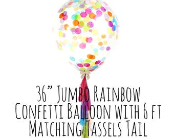Unicorn Rainbow Confetti Balloon with Tassel Tail, Big Clear Balloon, Tassel Garland Confetti Balloon, Party Supply, Wedding, Photo Prop