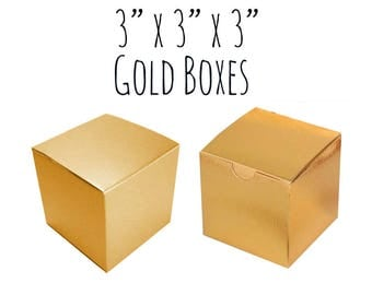 "Gold Boxes Square 3 x 3 x 3"", 5-20 Pack Of Wedding Favor Boxes Bulk, Gold Gift Box, Cupcake Box, Candy Box, Cardboard Box, Metallic Gold"