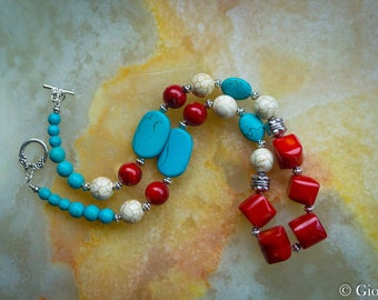 Coral and Turquoise Necklace, Blue Howlite, Red Coral, White Howlite, Turquoise Necklace, Red Coral Necklace, Womens Necklace, Woman Jewelry