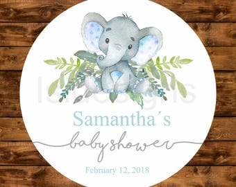 Elephant Favor Tags, Personalized Labels for Baby Shower Favors, Printable Baby Shower Floral Blue Elephant Favor Tags