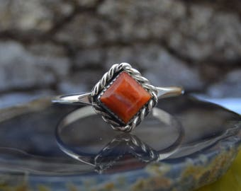 Navajo Sterling Silver and orange spiny oyster ring size 7
