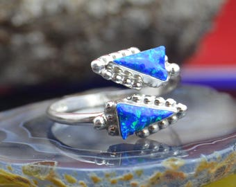 Sterling silver and blue opal double arrowhead adjustable ring