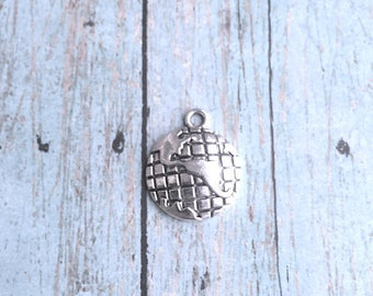 6 Large Globe charms antique silver tone (1 sided) - silver globe pendants, Earth charms, travel charms, world charms, geography charms, V6