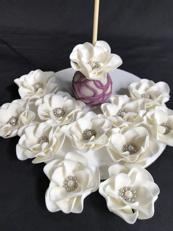 mini fondant flowers cake pop toppers decorations 12pcs edible ...