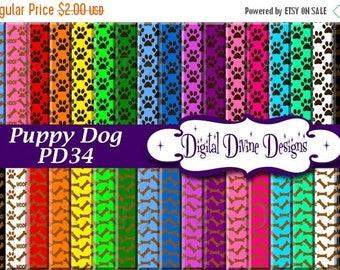 BTS Puppy Dog Digital Scrapbooking  Paper Set - Instant Download