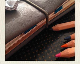 Buldori - grey leather Organizer kit + notebooks - notebook - Bullet journal traveler - fauxdori - midori - bujo