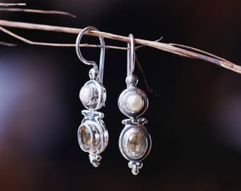 Pearl Citrine Drop Earrings / 925 Sterling Silver / Citrine - Pearl Earrings