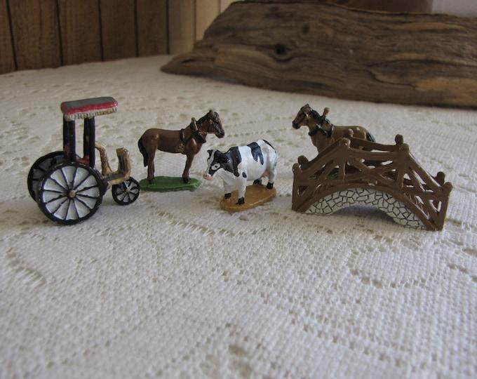 Miniature Cast Metal Farm Animals and Bridge Christmas and Farm Villages and Décor Five (5) Pieces Hand Painted Miniatures