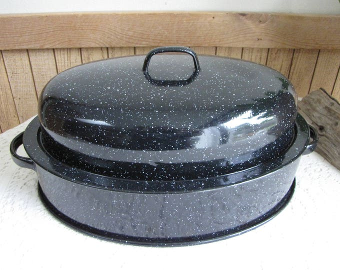 Vintage Savory Jr Roaster Cookware and Ovenware Black Speckled Enamel Rustic Farmhouse Kitchens Roasting Pan