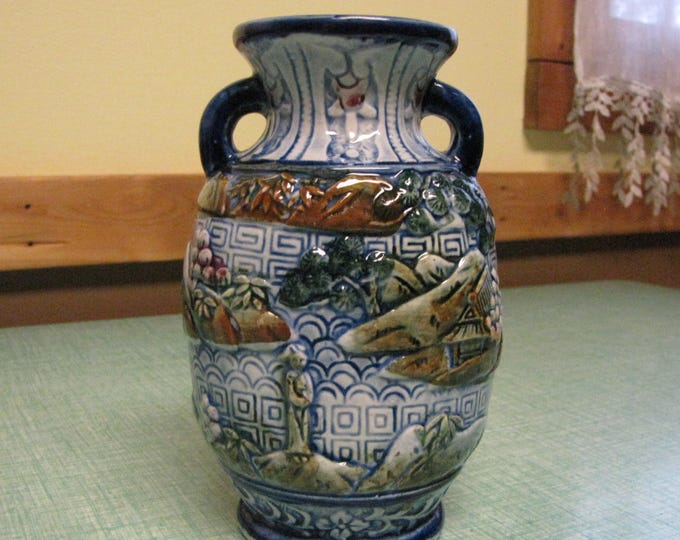 Japanese Ceramic Scenic Vase or Urn Made in Japan Blue Chinoiserie and Asian Home Décor Vintage Florist Ware Circa 1940s