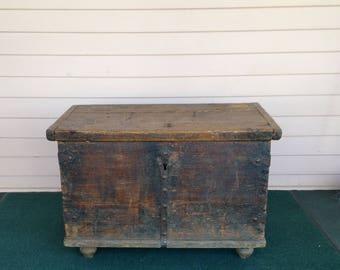 Antique Pine Box - European - Dovetailed - Strap Hinges