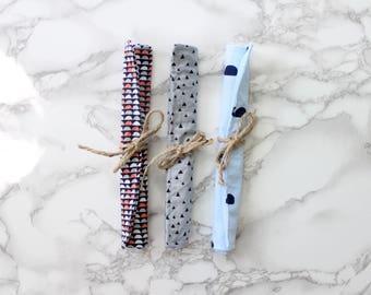 Baby Crinkle Paper Set of 3, Teething Toy, Sensory Baby Toy, Crinkle Paper Lovie, Navy-Coral Scallops Print