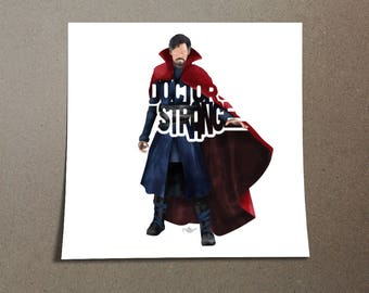 """Doctor Strange Poster Typography Design from the Marvel Universe with his name, """"Doctor Strange"""" in Red and Blue Low Tack wall Poster"""