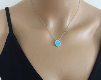 Silver Necklace, Blue Hamsa Hand Necklace, 925 Sterling Silver,Delicate Nceklace, Charm necklace, Gift idea , mukoshop