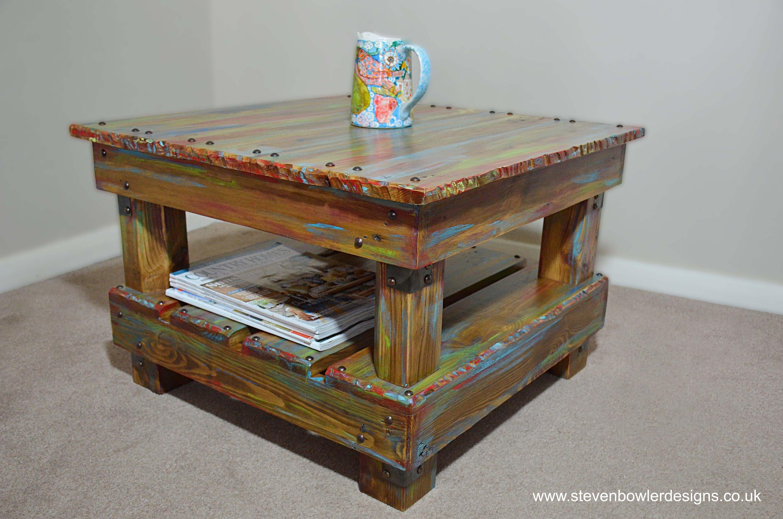 Rustic Reclaimed Wood Coffee Side Table in a Bespoke Multi