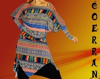 Unstructured asymmetric tunic, tunic dress stretch, asymmetric long tunic dress ' a beautiful day...  '