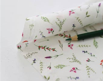 Herb Flower Pattern Digital Printing Cotton Fabric by Yard