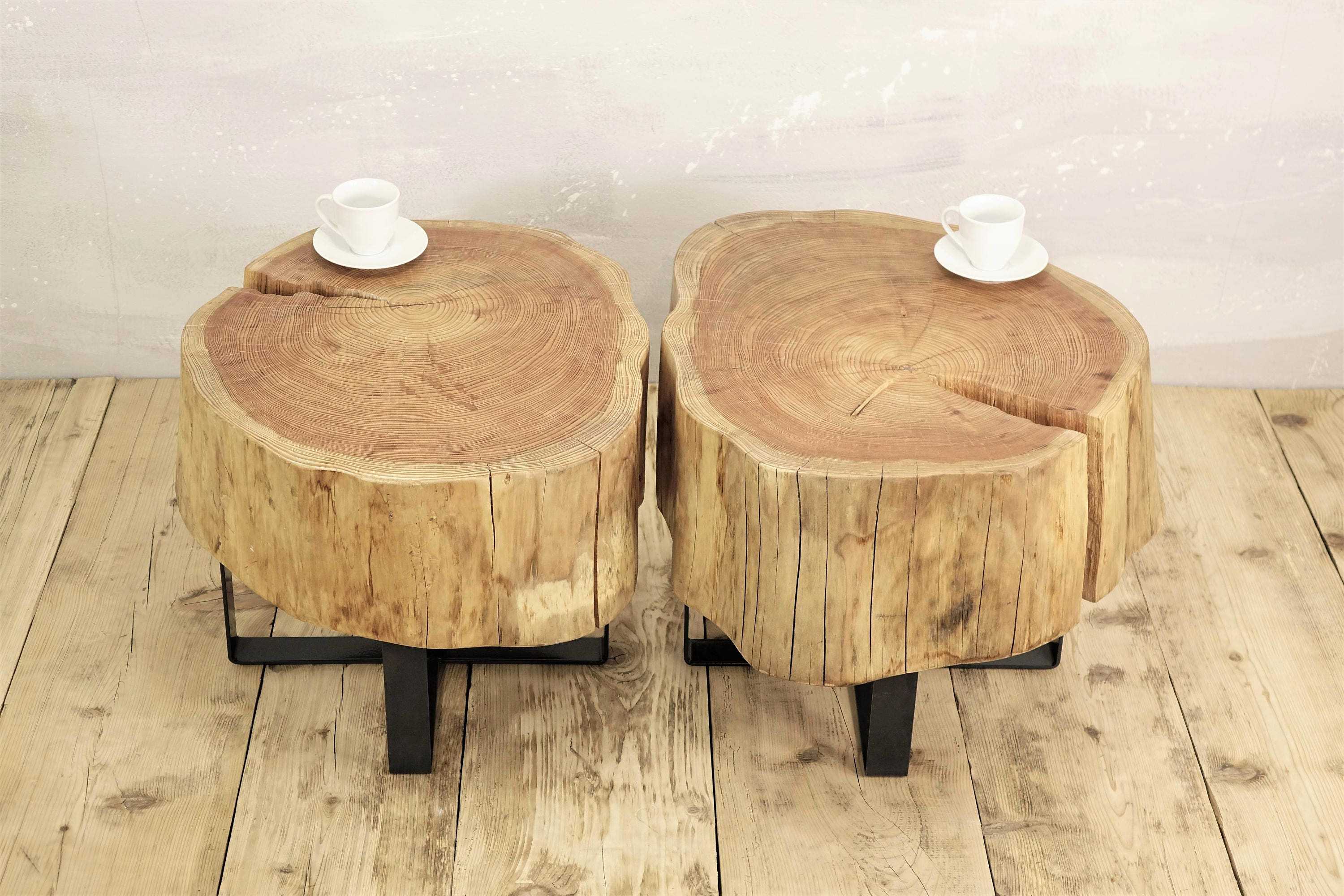twin stump coffee table on metal base slab coffee table natural
