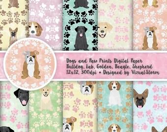 Dog Digital Paper Printable Paw Print Background Pattern Dog Scrapbooking Paper Pastel Pet Papers Labrador Retriever Bulldog Beagle Shepherd