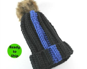 Thin Blue Line- Police Gifts- Gift for Wife- Police Officer- Blue Line- Blue Lives- Blue Lives Matter- Police Wife- Pom Pom Hat