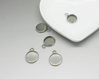 1 medium stainless steel cabochon to cabochon 10 mm