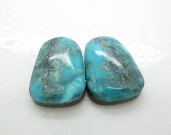 Blue Morenci Turquoise Cabochon,  Earring Pair,  Rare Turquoise Cab, Arizona Turquoise Cab, Trapezoid Cabochon 17x13mm (1 pr)