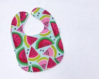 Personalized Baby Bib - Watermelon Baby Bib - Summer Baby Bib - Modern Baby Bib - Baby Bib - White Minky Backing - Handmade Baby Gift