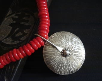 Hammered Silver Big Disc Pendant Red Bamboo Coral Beaded Necklace Unique Modern Metalwork Cold Connection Pendant Statement Coral Necklace