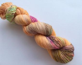 Sunset Rave Hand Dyed Superwash BFL/ Nylon Sock Yarn