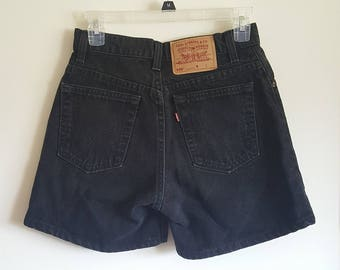 Vintage 1990s Black High Rise Levi's Jean Shorts