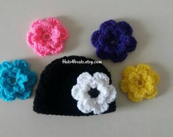 Baby Crochet Hat, Baby Hat Interchangeable Flowers Hat, Newborn Photo Prop, Baby Shower Gift, Crochet Interchangeable Flower Hat, Infant Hat