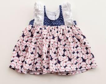 Baseball Dress, Toddler Dress, Sports Dress, Little Girl Dress, Girl's Dress, Baby Girl Dress, Summer Dress, Sizes 3/6mths-9/10