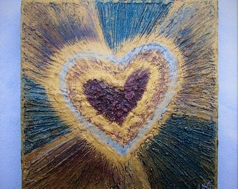 Hearts--Original Painting on Wood Block--Textured Art--Gold-Red-Blue--Valentines--Hearts Wall Decor--Love--Romantic Art--House Gift.