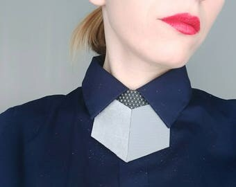 Pale Grey Leather shirt necklace,unique collar accessory, unisex bow tie alternative, statement necklace, bold necklace, shirt tie
