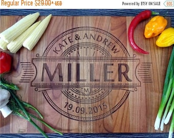 CuttingBoard Sale Personalized Engraved couple Cutting Board, Custom Wedding Date & Names, Anniversary Gift, Cherry Wedding Cutting Board. B