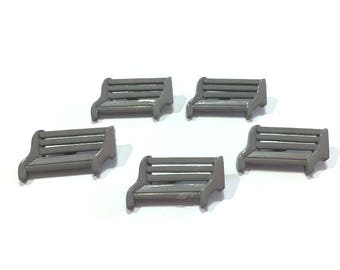 Park Bench Buttons Gray Set of 5 Shank Back - 132
