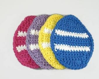 Easter Egg Coasters - Egg Coasters - Crochet Coasters - Set of 4 - Crochet Egg Coasters - Crochet Easter Egg Coasters - Coffee Coasters