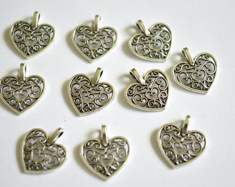 10 x Heart Charms  ~ Antique Silver ~  Lead and Nickel Free