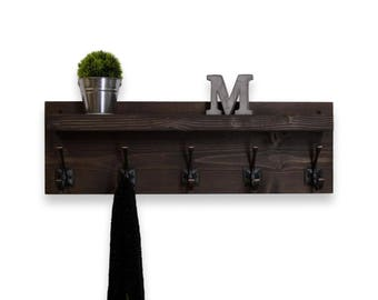 Floating Shelf Coat Rack 5 Hooks
