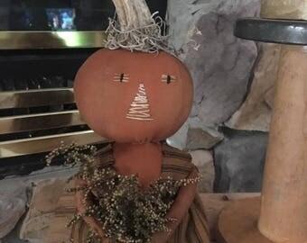 Primitive Fall Halloween pumpkin doll sweet annie