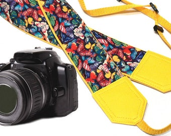 Butterflies camera strap. Colorful camera strap. Cute camera strap. DSLR / SLR camera strap. Camera accessories.