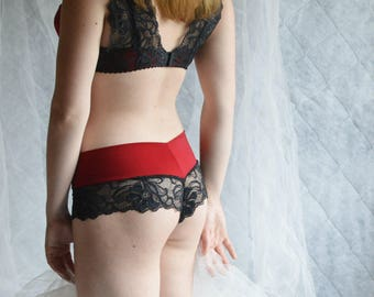 Black Mid-High Rise Lace Panties , Red lingerie , Red panties , Black panties , Black lace panties , Plus size panties , Plus size lingerie
