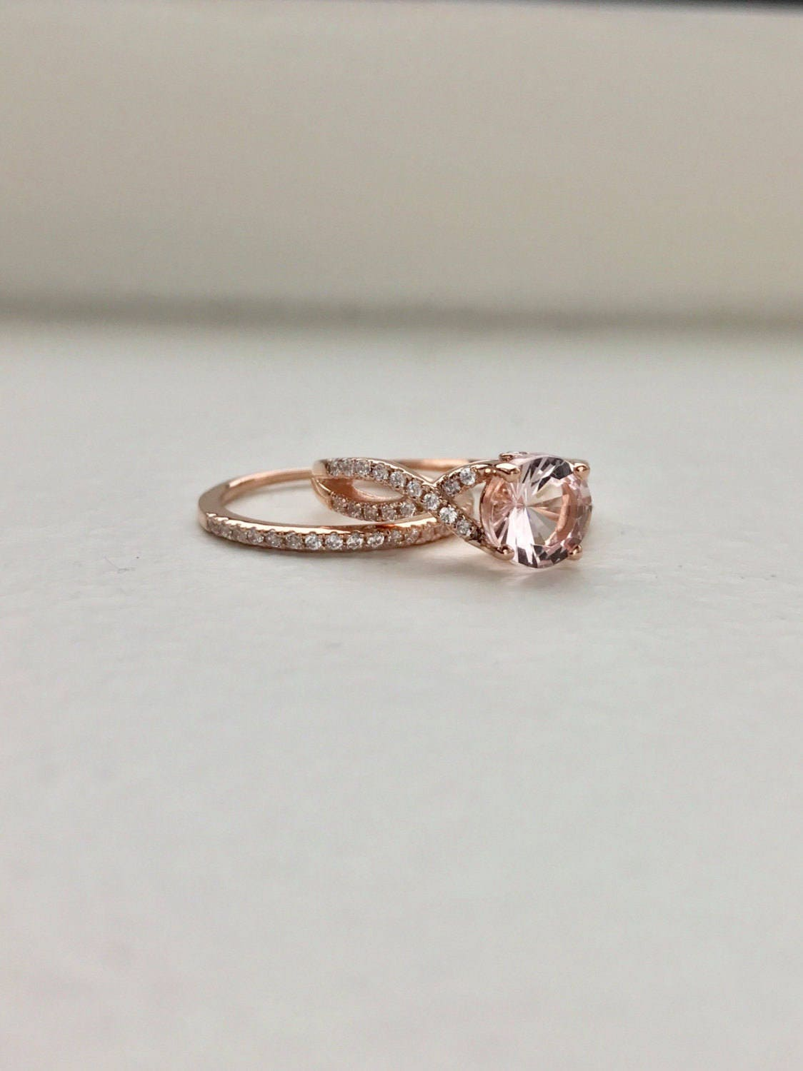 Morganite Twist Engagement Ring Setting Rose Gold Twisted Band