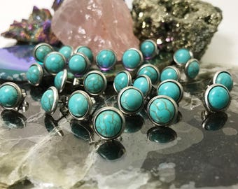 Fiver Friday Earring | Turquoise earring | howlite earring | crystal earring | gemstone stud | 8mm round earring | geometric | marbled