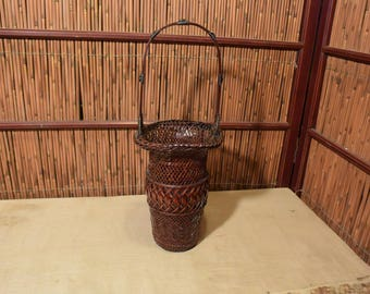 Vintage Japanese Ikebana Flower Arrangement Bamboo Lacquered Basket