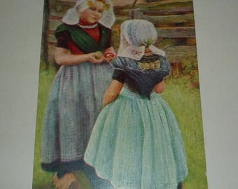 On Sale Two Dutch Girls Antique Postcard - The Difficult Choice