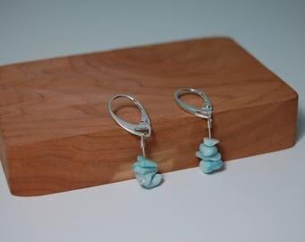 Stone Earrings Larimar, Dangle Earrings, Sterling Silver, Larimar Earrings