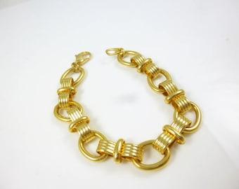Gold Link Bracelet, Chunky Link Bracelet,  Chunky Gold Bracelet, Plated, Vintage new