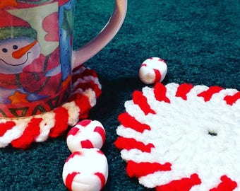 Peppermint candy cane coasters