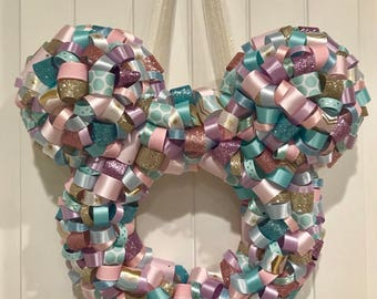 Mickey Shaped Ribbon Wreath  Small World theme, Nursery, Spring, Pastels **Free Shipping **